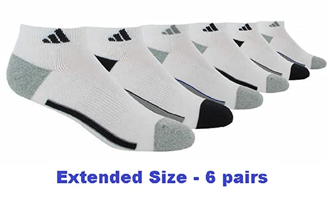 separation shoes many fashionable meet Adidas Socks Low Cut Sport Cushioned - White (6-Pack) Extended Size 12-16