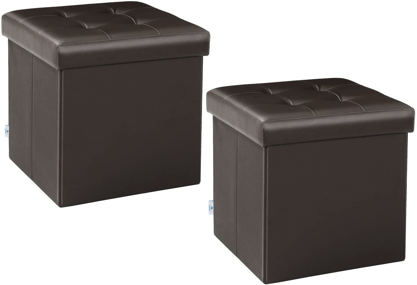 """B FSOBEIIALEO Storage Ottoman Small Cube Footrest Stool Seat Faux Leather Toy Chest Brown 12.6""""X12.6""""X12.6"""" (2 Pack)"""