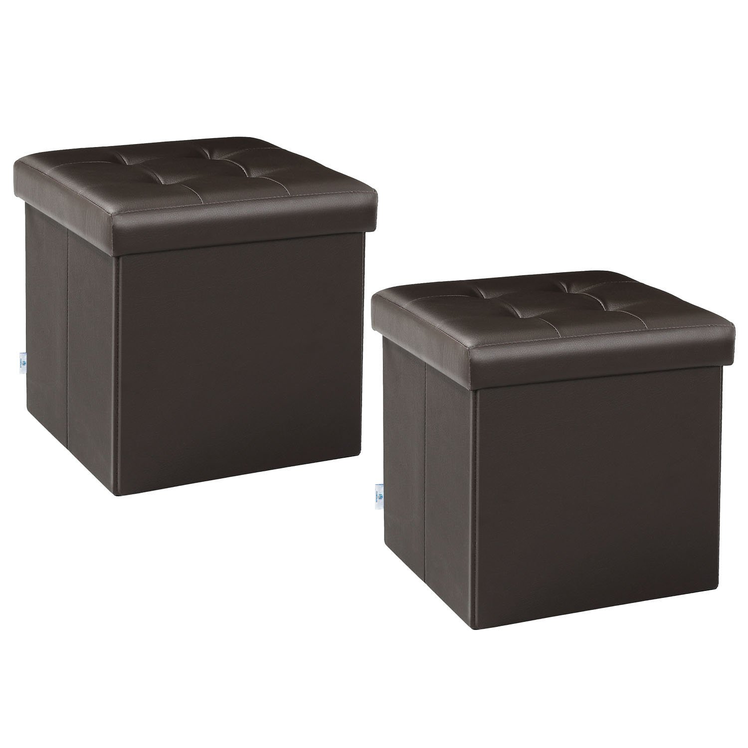 B FSOBEIIALEO Storage Ottoman Small Cube Footrest Stool Seat Faux Leather Toy Chest Brown 12.6''X12.6''X12.6'' (2 Pack) by B FSOBEIIALEO