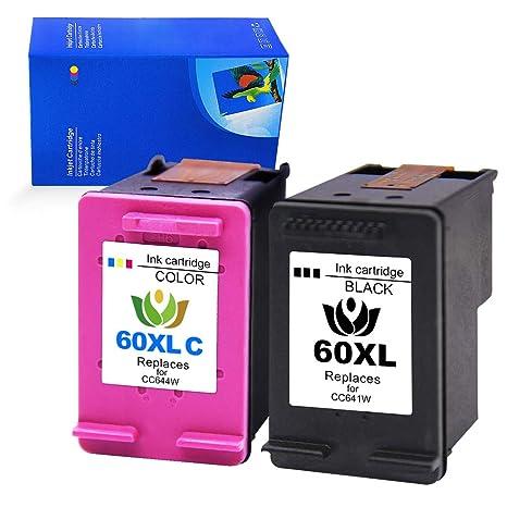 2 Pack 60XL Ink Cartridge For HP Photosmart C4680 D110 Deskjet D2680 F2430 F4210