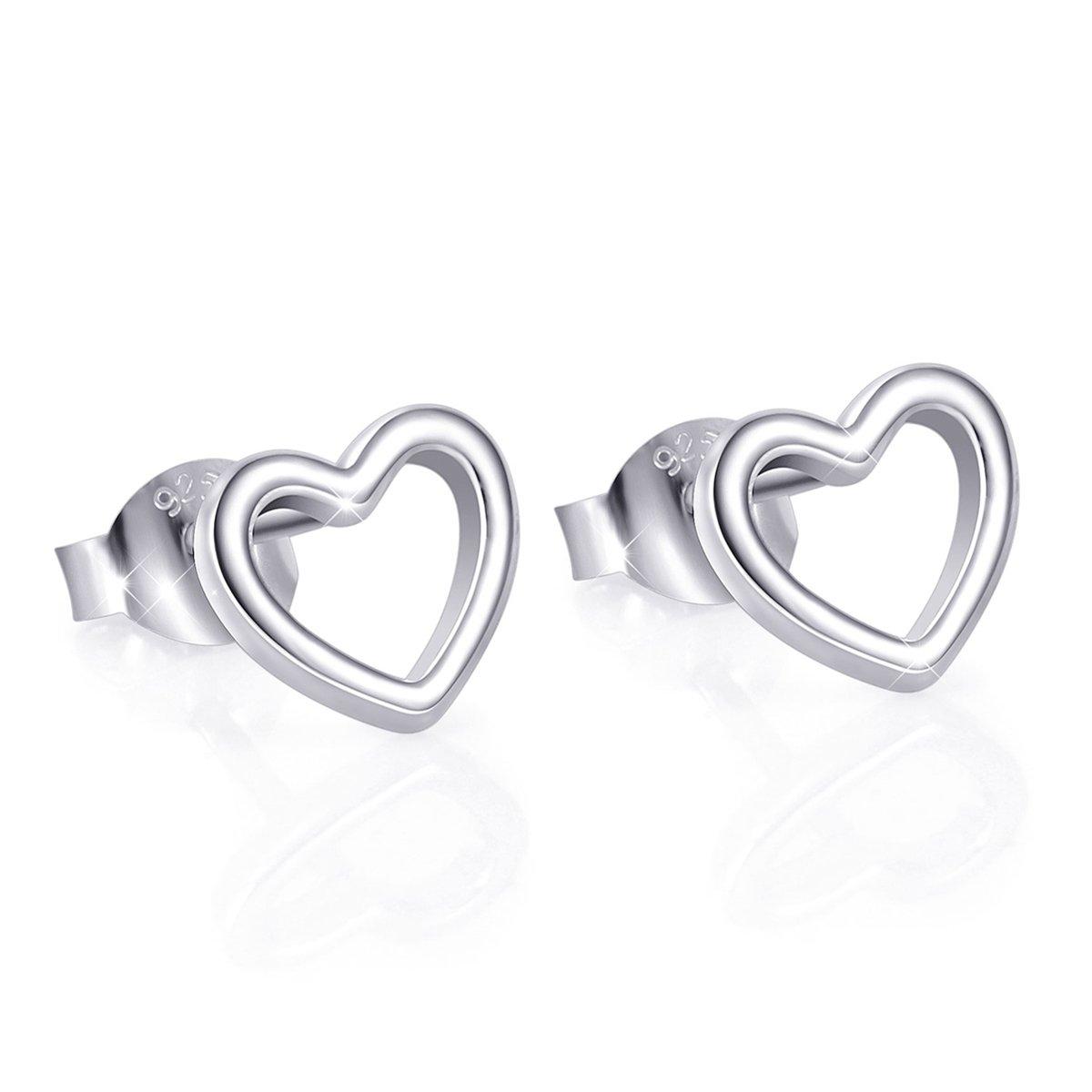 925 Sterling Silver Heart Stud Earrings for Women (Style 1)