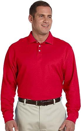 Devon & Jones Men's Pima Pique Long-sleeve Polo Shirt Red 4XL at ...