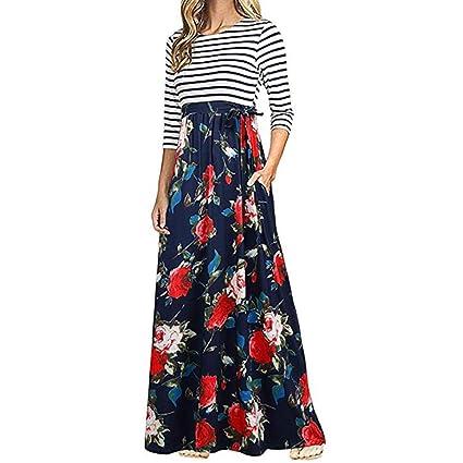 POLP Otoño Vestido Largo ◉ω◉ Estampado Otoño vestidos mujer verano Vestido Largo A Rayas de Mujer Boho Vestido Tallas Grandes Sexy Vestido de Tirantes ...