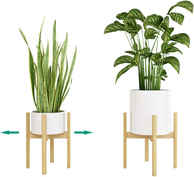 "Handmade Bamboo Plant Stand Adjustable Indoor Garden Flower Pot Holder Mid Century Display Rack Fit Size 8"" to 12"" Medium and Large Pot (Not Included) Natural Bamboo"