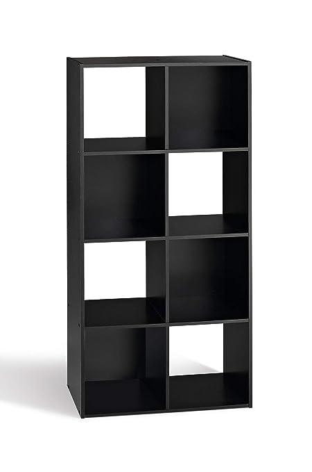 Compo Meuble De Rangement Noir.Compo Meuble De Rangement 8 Casiers Bibliotheque Etageres Cubes Noir 62 X 29 5 X 123 Cm