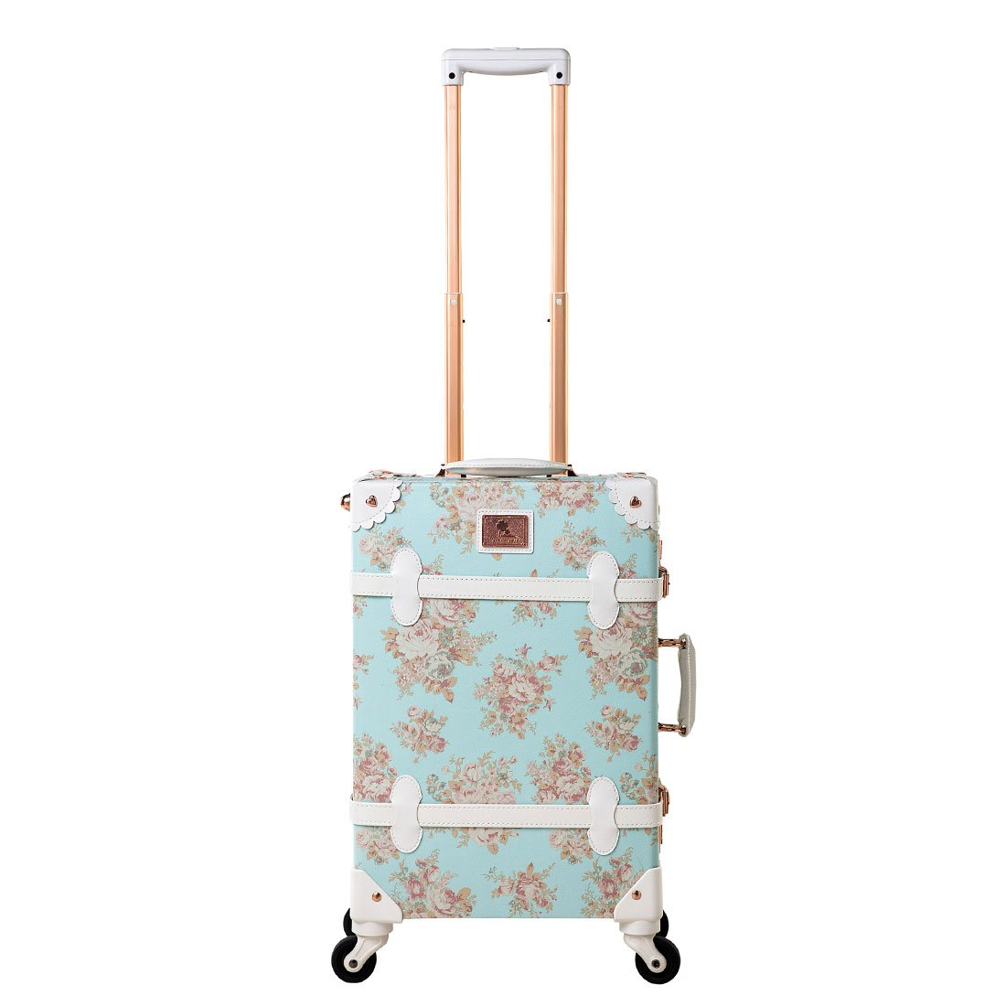 Women Blue Floral Pu Leather Travel Suitcase Apply to 20'' - 26'' with Spinner Wheels (20'')