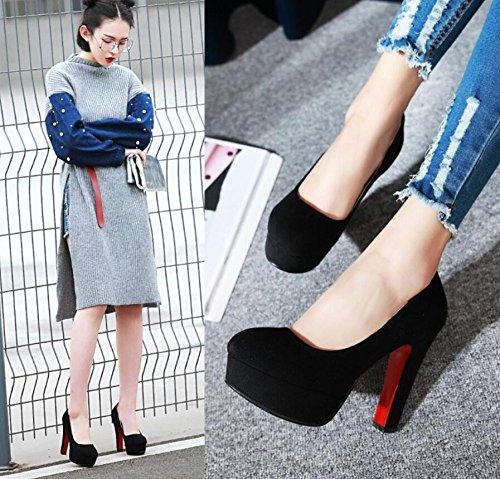 Tête Talons 12Cm Femme Chaussure Chaussures Thirty Hauts De Seule KHSKX nine Working Super Black Et Ronde SdqdU