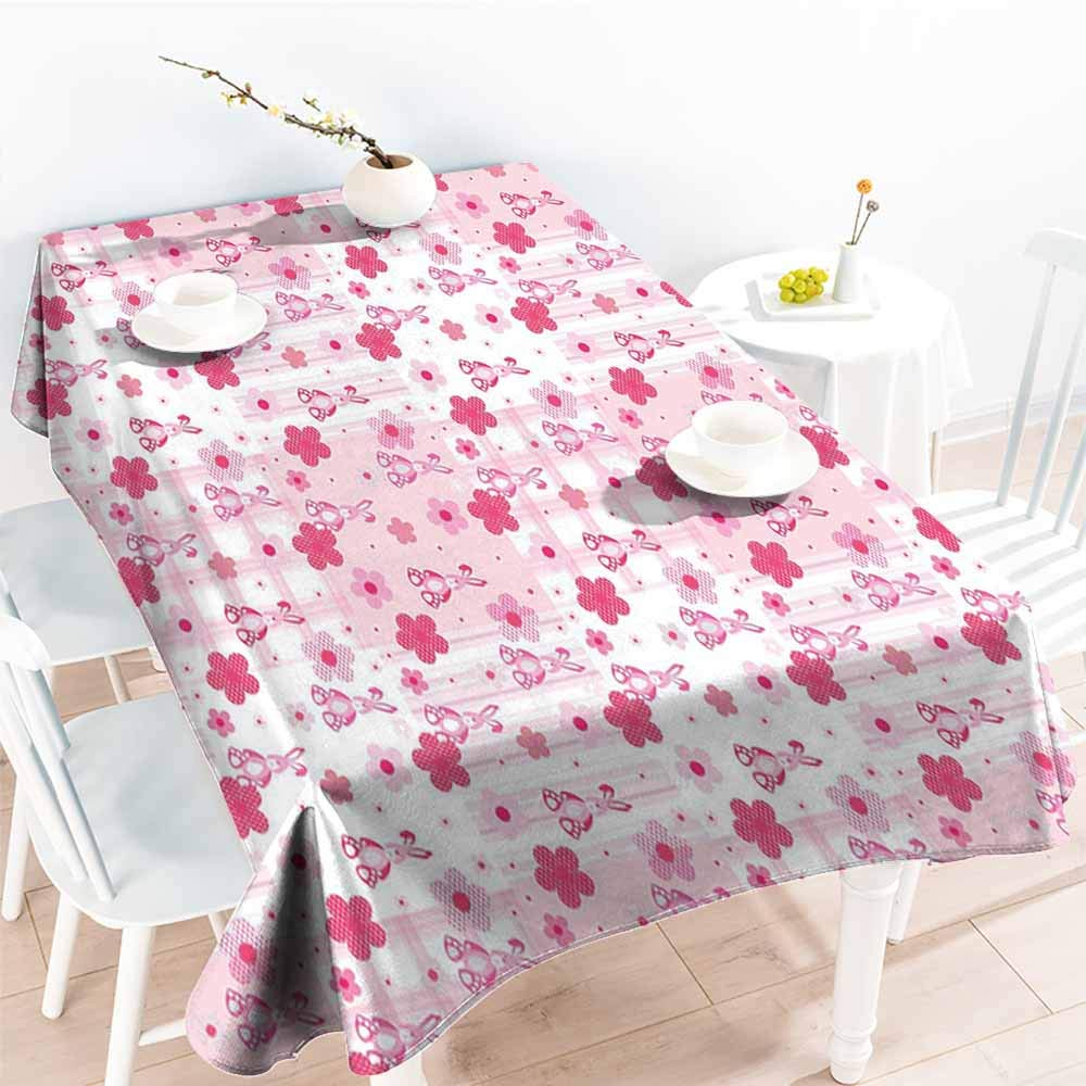 Onefzc Washable Tablecloth,Baby Stuffed Rabbit Toy Halftone Effect Flowers Checkered Faded Background Vintage,Resistant/Spill-Proof/Waterproof Table Cover,W60X90L Hot Pink Pale Pink
