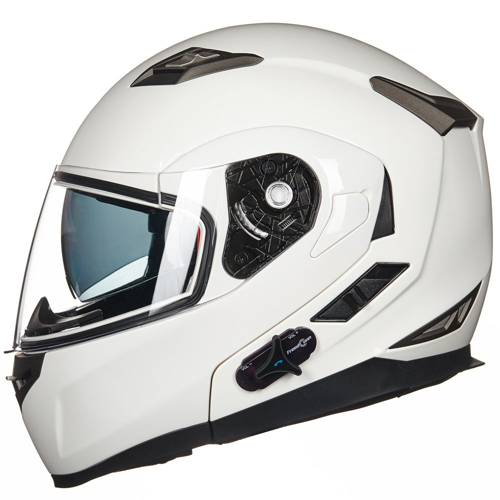 ILM Bluetooth Integrated Modular Flip up Full Face Motorcycle Helmet Sun Shield Mp3 Intercom (M, MATTE BLACK) 953