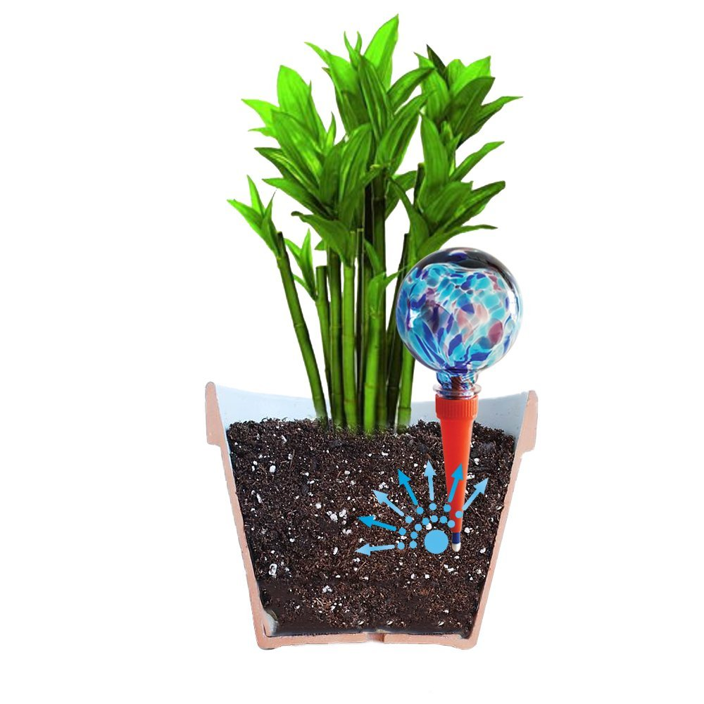 2 Mini Plantpal Decorative Glass Watering Globes, Plant Watering, Self Watering, Automatic Watering, Watering Spikes, Holiday Watering System that really works. Use in 6 - 7 Inch Indoor Plant Pots. No need to waste money on other cheap globes. (Blue, Glas