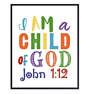 Childrens Bible Verse Wall Art, Religious Wall Decor - Child of God, John 1:12 - Scripture Wall Decor for Kids Bedroom, Girls, Boys Room - Christian Gifts - Unframed 8x10 Inspirational Poster Print