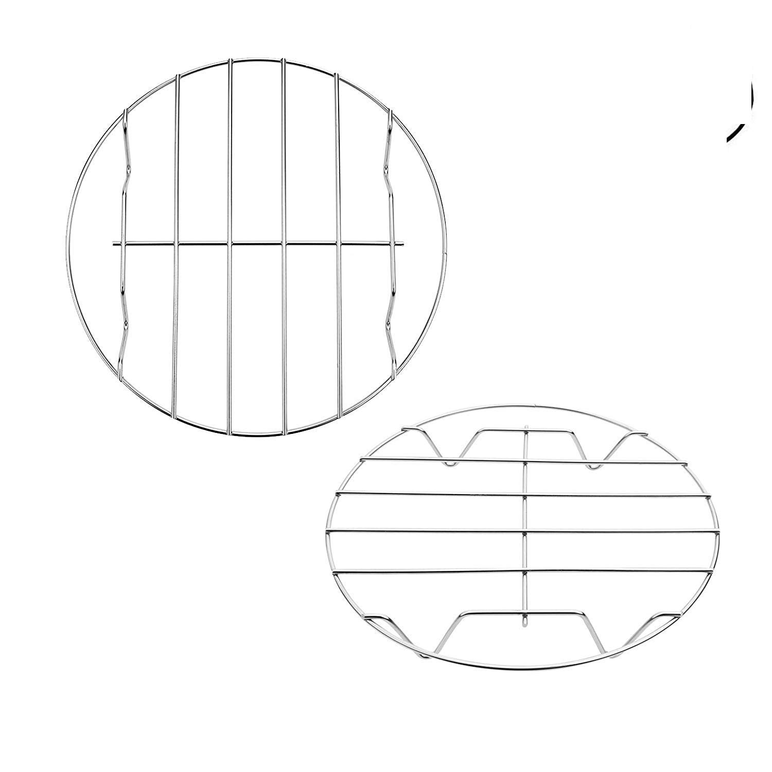 Round Baking and Cooling Rack, 7-Inches Multi-Purpose Stainless Steel w Stand Cookware Fit for Air Fryer Instant Pot Pressure Cooker Canning Set of 2