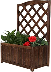 Outdoor Shelf Planter Raised Beds Raised Garden Bed Wooden Elevated Planter Garden Box for Vegetables Herbs Tree and Flowers Outdoor Gardening with Drain Hole Natural Plant Stand Raised Bed (Brown)