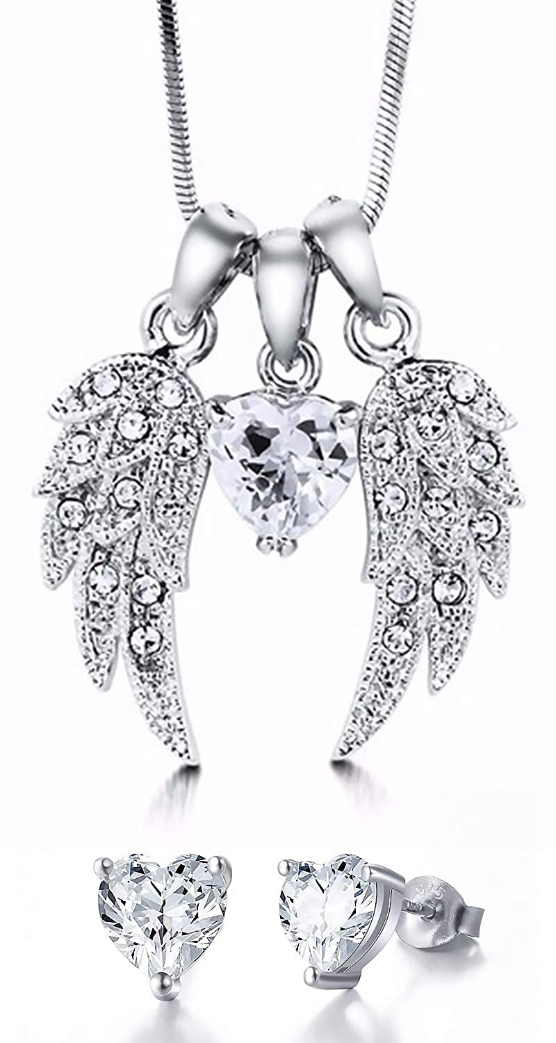 fc786c0f4 Necklace Earring Sterling 925 Silver Jewelry Set - Angel Wings Heart of  Love by Thalie