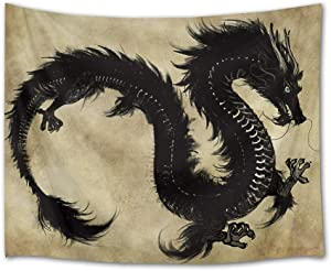 LB Dragon Tapestry Psychedelic Black Dragon Wall Hanging Bohemian Tapestries for Bedroom Living Room Dorm Party Wall Decor,60Wx40H inches