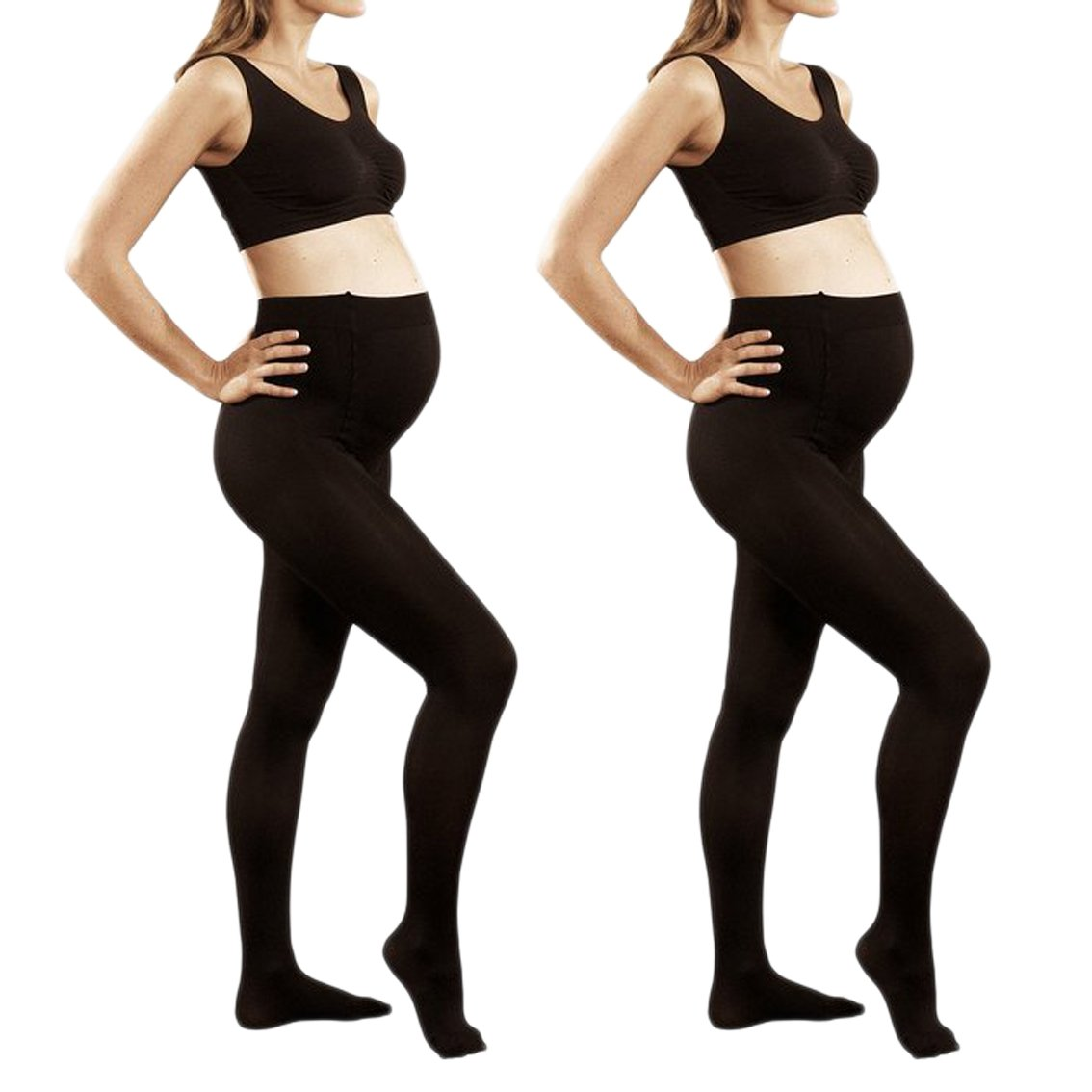 2 Pack of Mod & Tone Maternity Microfiber Opaque Tights, Wide Waist Band (L/XL, Black)