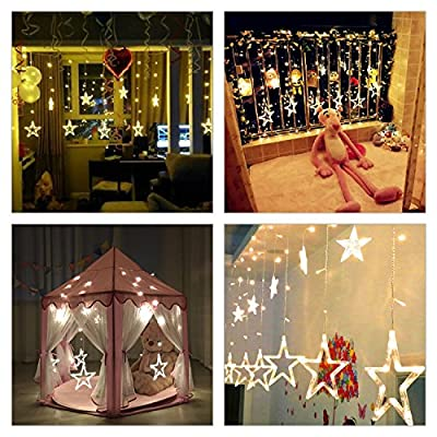 BUDGET & GOOD 12 Star Led String Curtain Lights Waterproof 8 Modes Linkable 138pcs Warm White Led Lights for Christmas Halloween Indoor and Outdoors