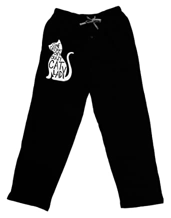 05829e03dd5 TooLoud One Cat Short Of A Crazy Cat Lady Adult Lounge Pants - Black