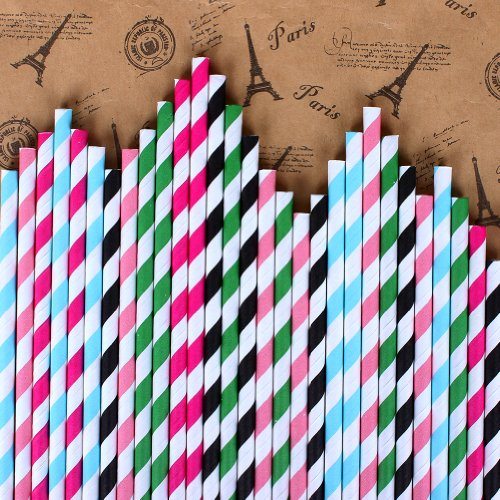 2013newestseller 125pcs Party Wedding Birthday 5 Packs Color Strip Drinking Straw