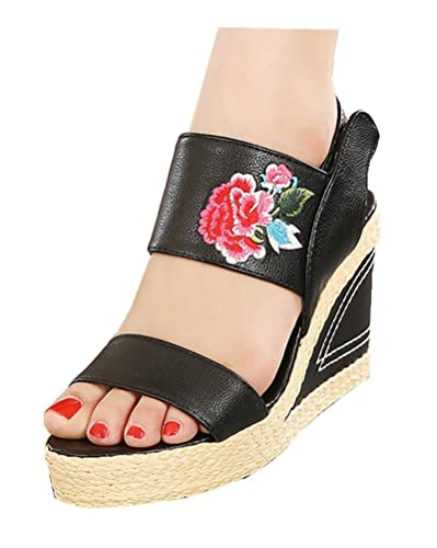 ee2aec3a549f Tianrui Crown Women and Ladies Chinese Embroidery Wedge Platform Slipper  Sandal Shoe Black