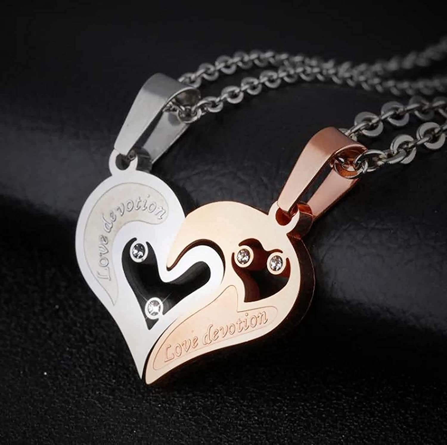 LOPEZ KENT Jewelry Men Women Stainless Steel Pendant Necklace Cubic Zirconia Hollow Heart Puzzle Gold White