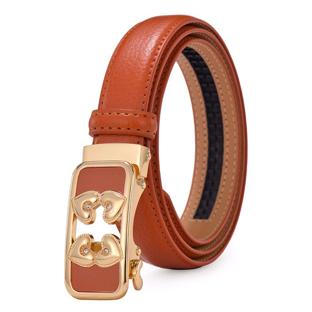 Womens automatic buckle leather belt