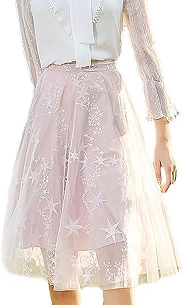 Targogo Mujer Faldas Plisada Elegante Moda Exquisito Bordados ...