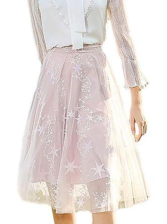 Mujer Faldas Plisada Elegante Moda Exquisito Bordados Primavera ...