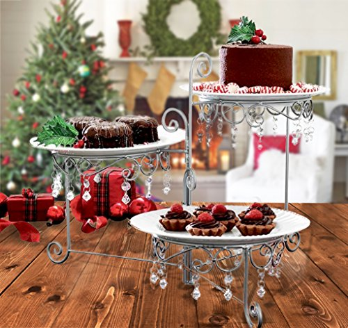 Elegant Clear Beaded Swivel Silver Triple Dessert Cake Stand 3 Tier Wedding Party Server, 12 3/4 Inches Length by 7 3/4 Inches Width by 15 Inches Height Perfect In Every Home By CTD Store ()
