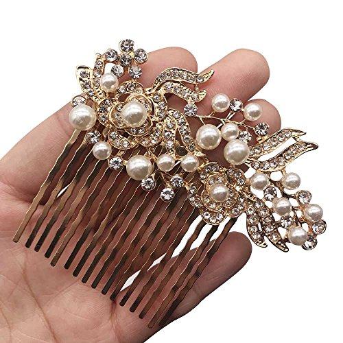 Missgrace Bridal Rhinestone Flower Hair Comb Vintage Women Headpeice Wedding Hair Accessories