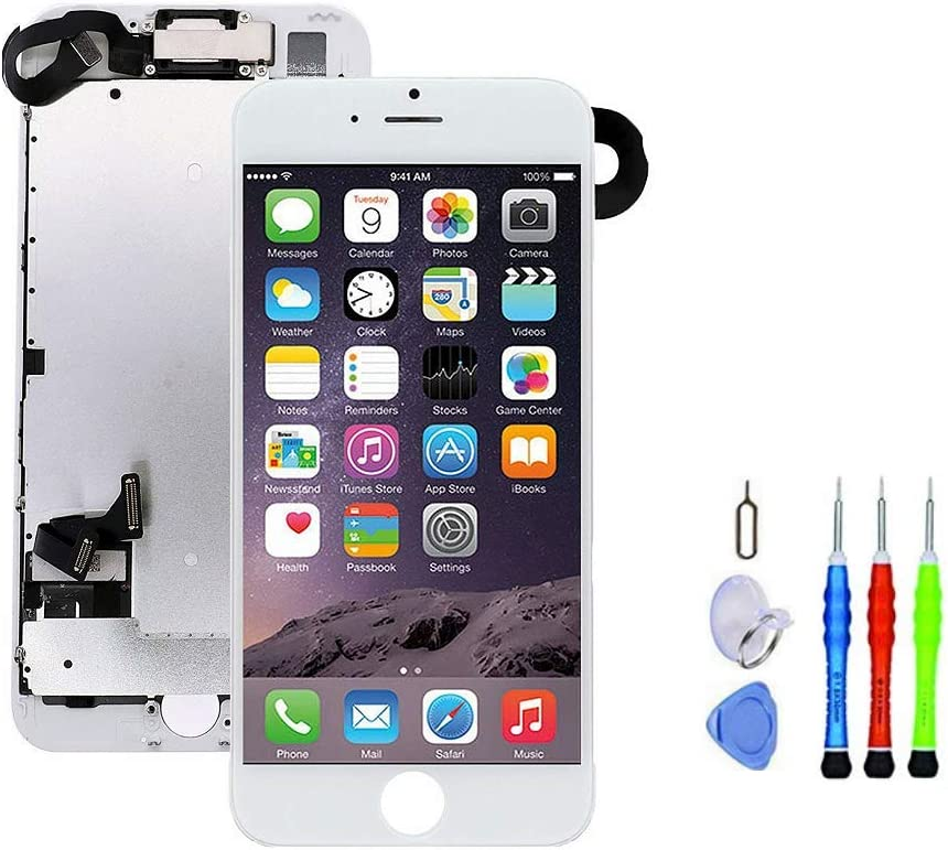 Premium Screen Replacement Compatible with iPhone 7 4.7 inch Full Assembly - LCD 3D Touch Display digitizer with Front Camera, Ear Speaker and Sensors, Compatible with All iPhone 7 (White)