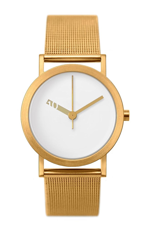 Normal Timepieces Extra Normal Quarz Edelstahl Stahlnetz IP Gold Weiß Frau Uhren