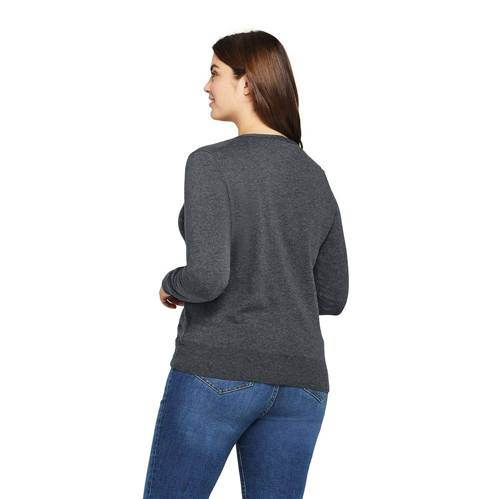 Lands' End Women's Plus Size Supima Cotton Cardigan Sweater, 3X, Charcoal Heather by Lands' End (Image #3)