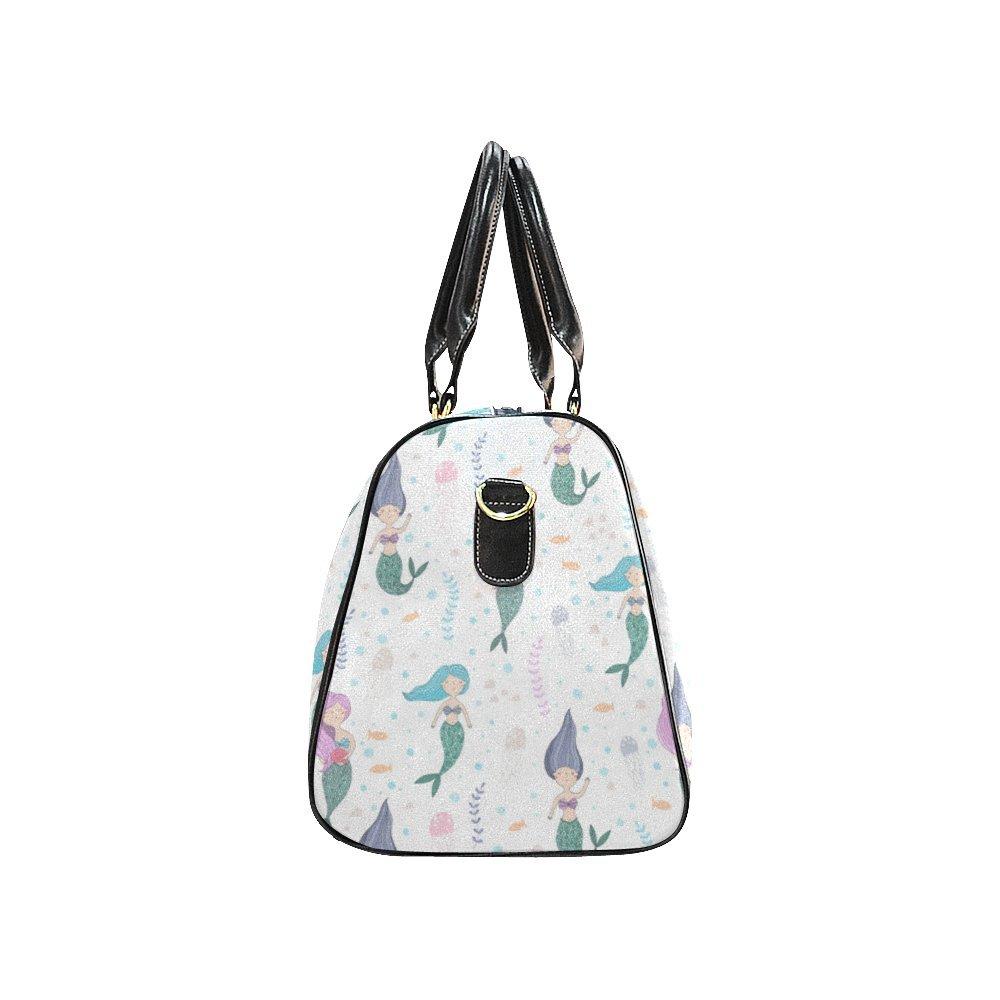 Cute Fish Mermaid Small Travel Duffel Bag Waterproof Weekend Bag with Strap