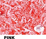 Crinkle Cut Paper Shred Grass Filler for Gift Box Wrapping and Basket Filling in Resealable Bags (Pink, 1 lb)