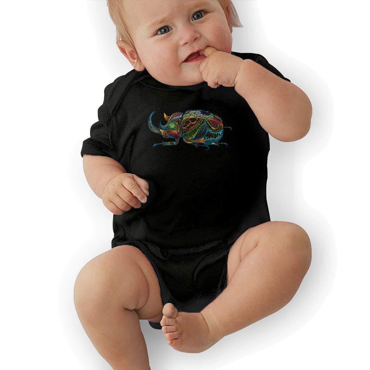 Creative Artistic Colorful The Beetle Newborn Infant Toddler Baby Girls Boys Bodysuit Short Sleeve 0-24 MonthsBlack