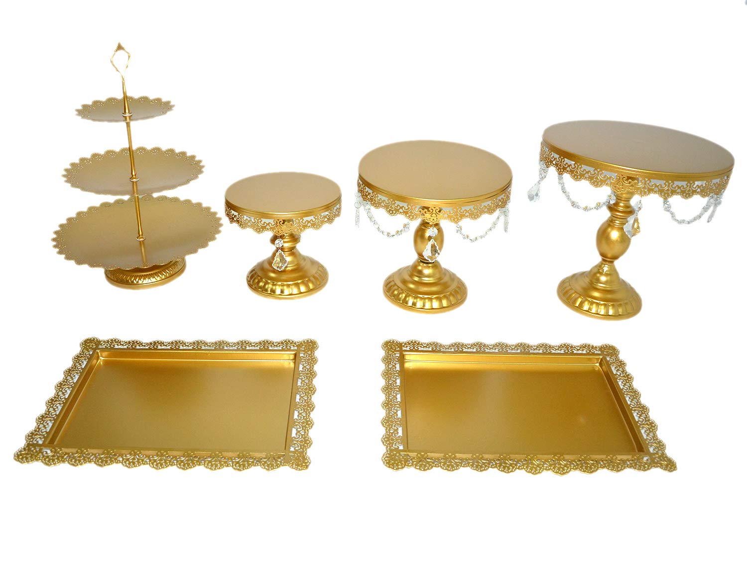 6PCS / Set gold mirror surface Wedding Dessert Tray Cake Stand Cupcake Pan cake display table decoration Party Supply (gold)