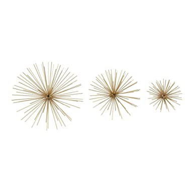 Deco 79 50387 Metal Gold Wall Star Set of 3