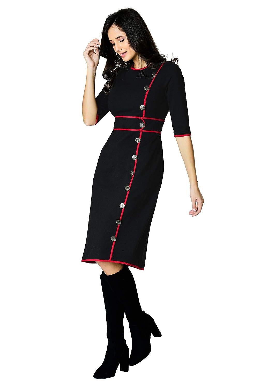 60s Dresses | 1960s Dresses Mod, Mini, Hippie eShakti FX Contrast Trim Cotton Knit Sheath Dress - Customizable Neckline Sleeve & Length $69.95 AT vintagedancer.com