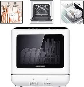 Dishwasher Automatic Household Dishwasher Desktop Dishwasher Small Dish-washing Machine Tableware Capacity 4-6 Sets Built-in Water Tank (Color : White, Size : 45 * 44 * 45.8cm)