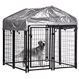 BestPet Welded Wire dog Kennel Heavy Duty Playpen Included a Roof and Water-Resistant Cover(4'x4'x53'