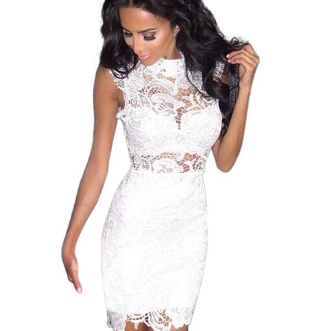 0c0898b1a30e Rcool Vestito Elegante da Sexy Mini Abito da Donna Club Sleeveless in Pizzo  Floreale con Dolcevita  Amazon.it  Abbigliamento