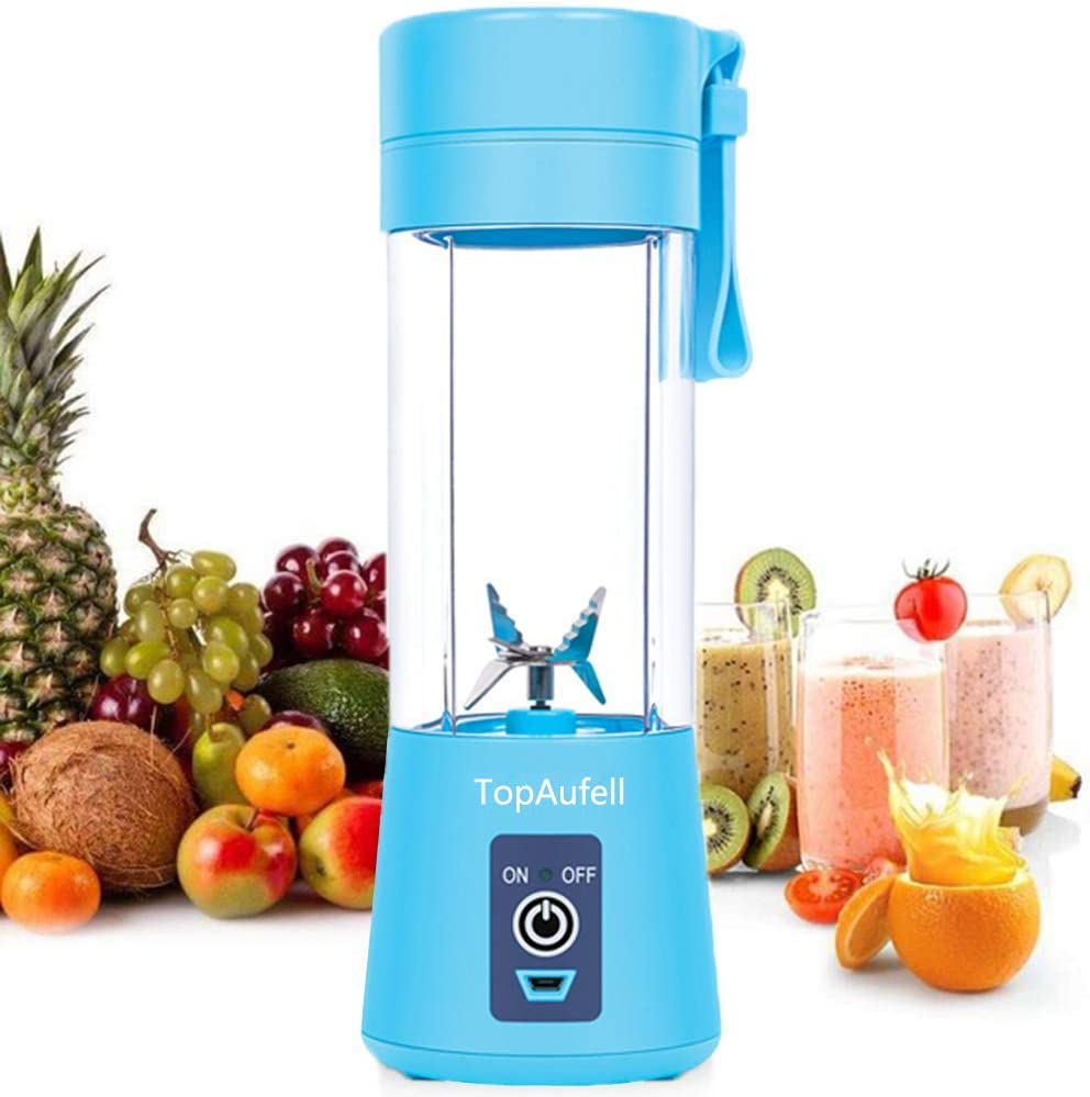 Personal, Portable Juicer Cup Electric Fruit Mixer/USB Juice, mini personal, Six Blades In 3D For Superb Mixing, 380mL - (Blue)