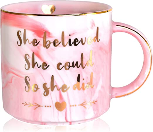 Aetegit Graduation Gifts for Her, She Believed She Could So She Did - 12 Oz Graduation Ceramic Coffee Mug for Masters Degree, MBA,Nurse, College Graduation Congratulations Gifts 2021