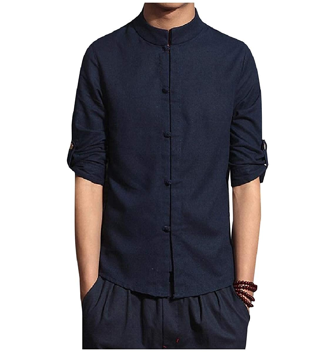YUNY Mens Chinese Style Linen 3//4 Sleeve Back Cotton Western Shirt Navy Blue M