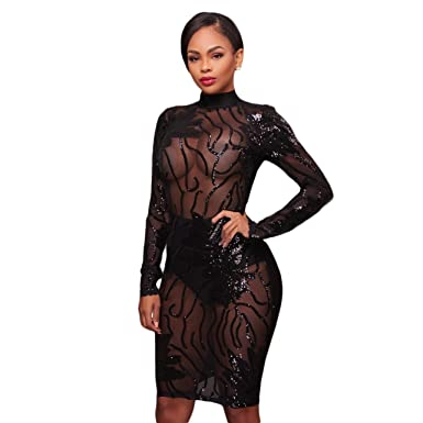 d478eb8e2b88 Felicity Young Women's Sexy Long Sleeve Round Neck Mesh Sequin Patchwork  Backless Bodycon Cocktail Party Midi