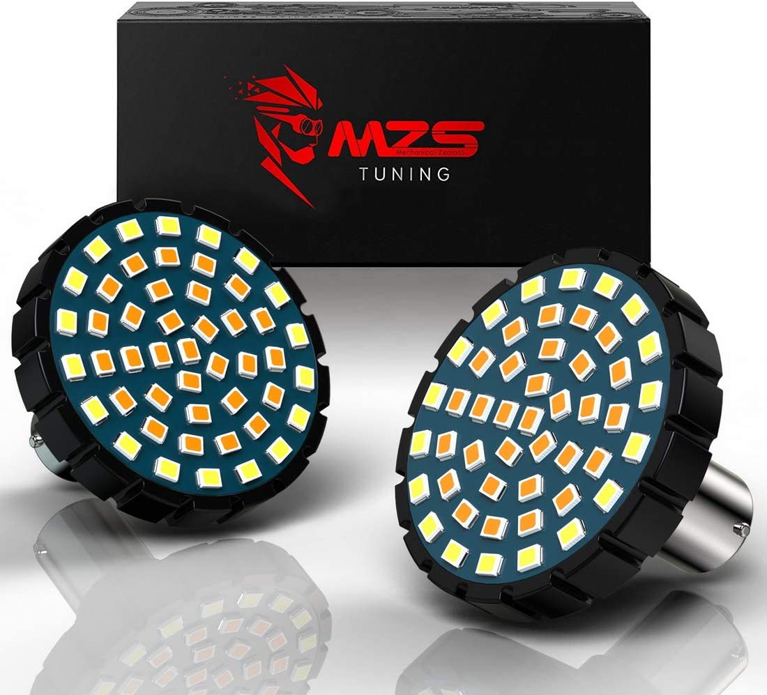 """MZS 2"""" 1157 Turn Signal LED Bulb Running Light Kit Bullet Style w/Dual Color Front or Rear Compatible Motorcycles Harley Davidson (21White + 27Amber)"""