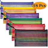 Selizo 18 Pcs 6 Colors Zipper Mesh Pouch for Cosmetic Makeup Office Supplies and Travel Accessories