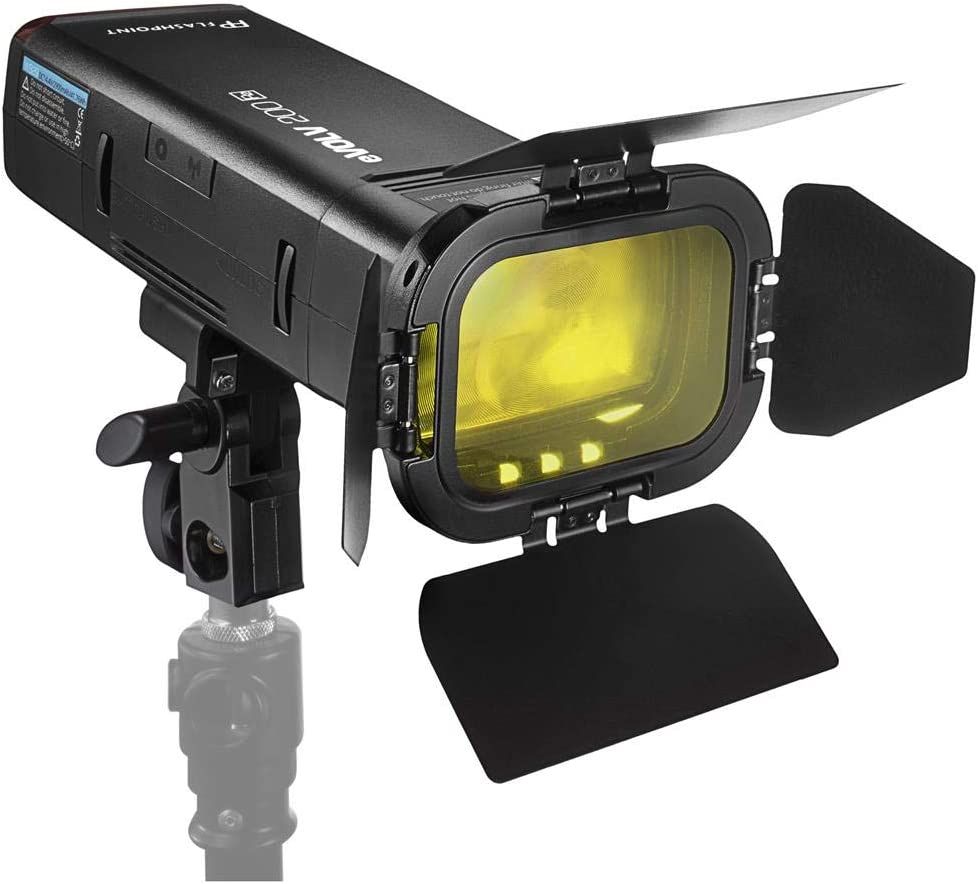 Flashpoint eVOLV 200 TTL Pocket Flash with Barndoor Kit Built-in R2 Radio AD200 Handheld Grip S-Mount Bracket Bowens Mount Holder + Glow EZ Lock 24x36in Quick Rectangle Softbox w//Bowens Mount
