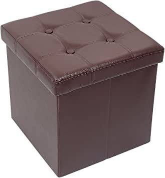 Home Furniture Diy Large Chocolate Brown Pu Leather Padded Storage Ottoman Folding Seat Bench Chest Desmoinesfencecompany Com